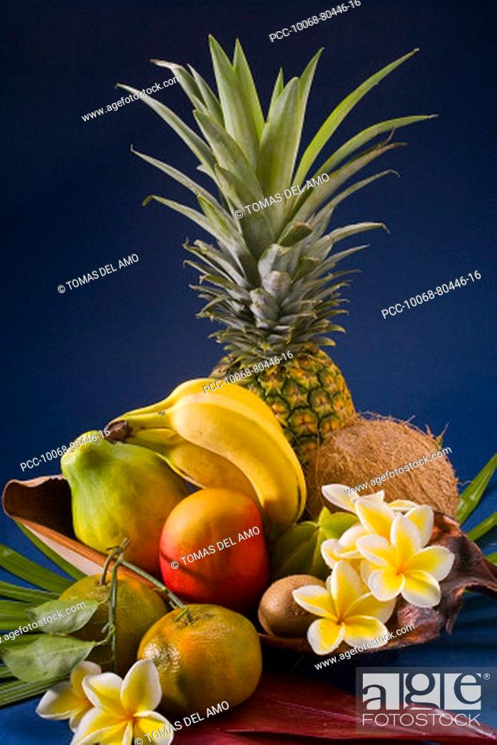 Stock Photo: Studio shot of a variety of tropical fruit.