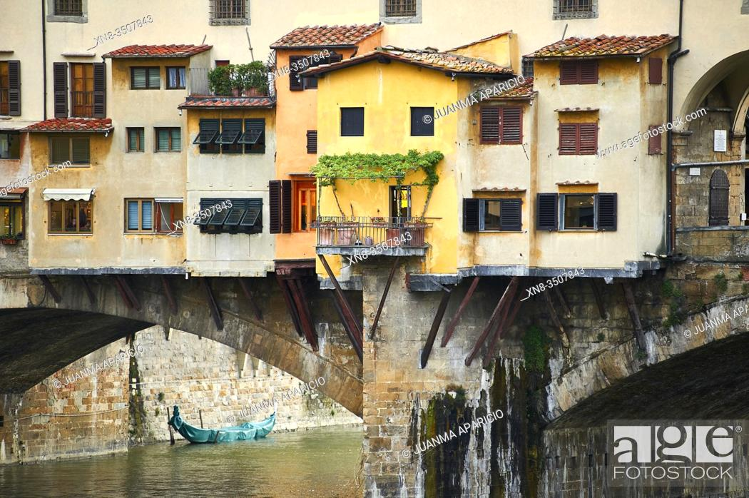 """Stock Photo: Details of the medieval walls """"""""Ponte Vecchio """""""" historic brige in Florence, Italy."""