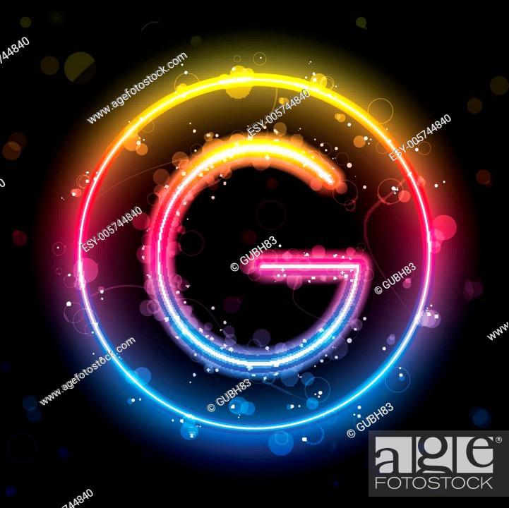 Stock Vector: Alphabet Rainbow Lights in Circle Button.