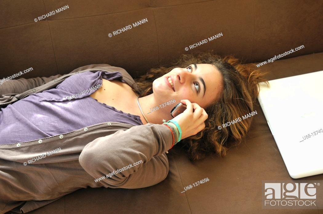 Stock Photo: Teen girl with cell phone.