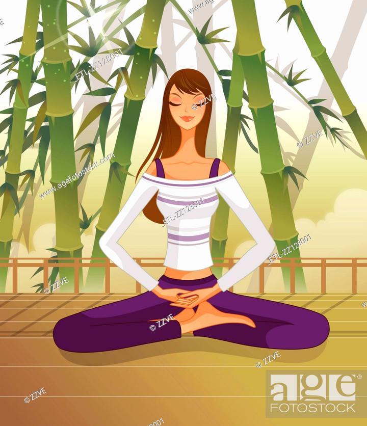 Stock Photo: Woman sitting in lotus position, meditating.