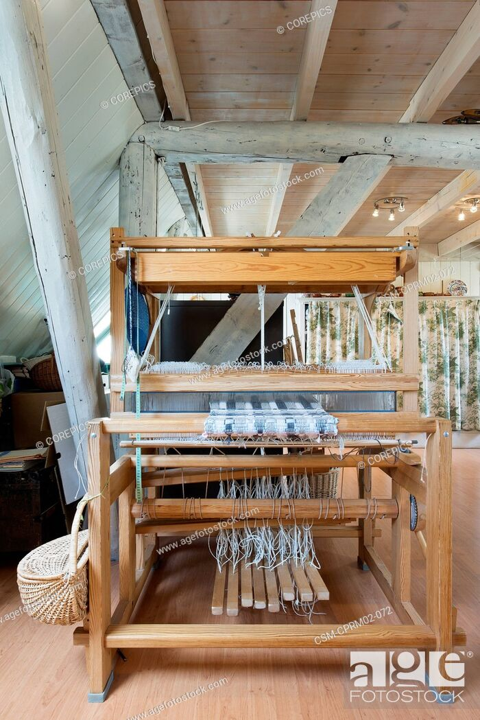 Stock Photo: Louet Spring weaving loom - one of the most innovative cleverly designed floor looms.