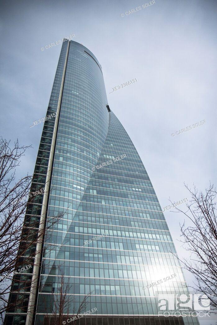 Stock Photo: Torre Espacio. Cuatro Torres Business Area (Four Towers Business Area). Paseo de la Castellana. Madrid. Spain.