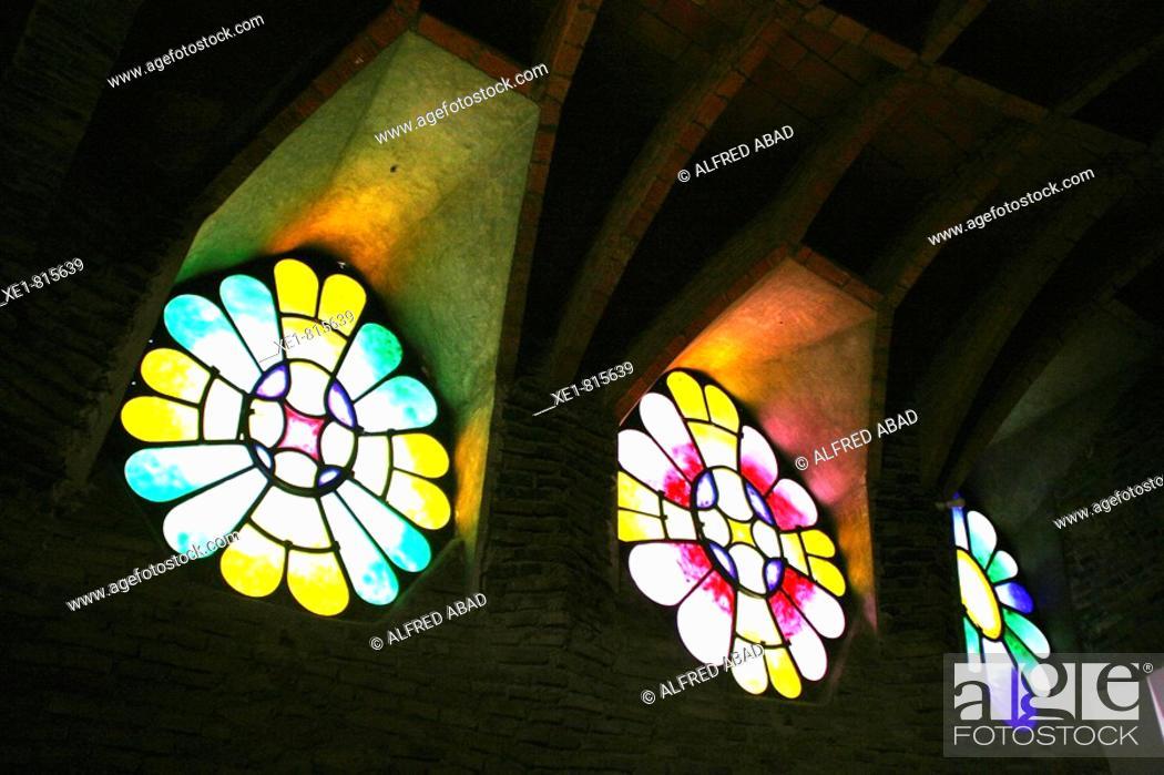 Stock Photo: Stained-glass windows in the church of Colonia Güell, Santa Coloma de Cervello. Barcelona province, Catalonia, Spain.