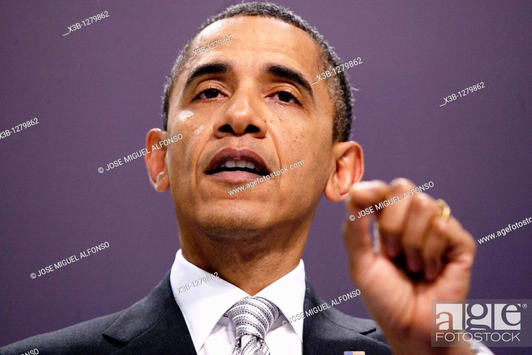 Stock Photo: Barak Obama, President of the United States of America  NATO Summit  Lisbon, Portugal  20/11/2010.