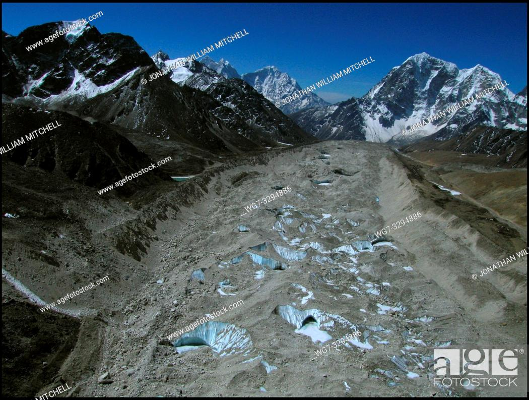 Stock Photo: NEPAL Everest Base Camp -- 16 Apr 2005 -- A view looking south of the massive Khumbu Glacier, just south of Everest Base Camp.