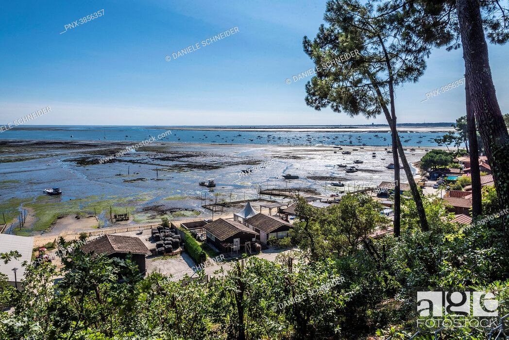 Imagen: France, Gironde, Arcachon Bay, Cap-Ferret, La Pointe aux Chevaux at low tide and Piquey oyster village.