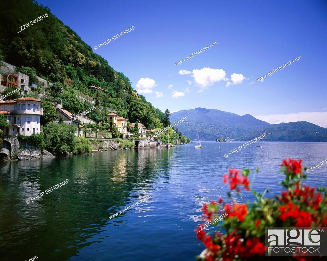 Stock Photo: CANNERO RIVIERA. LAKE MAGGIORE. Lake Maggiore or Lago Verbano is a large lake located on the south side of the Alps. It is the second largest lake in Italy in.