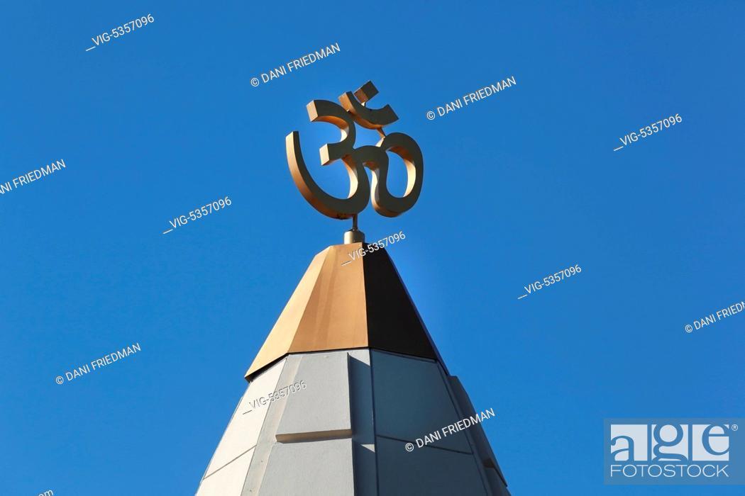 Om Aum Symbol Adorns The Dome Of A Hindu Temple In Ontario Canada