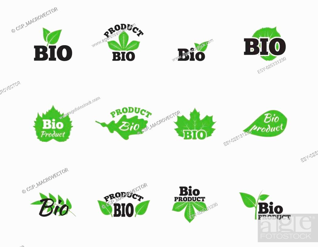 Stock Vector: Green leaves flat icons set.