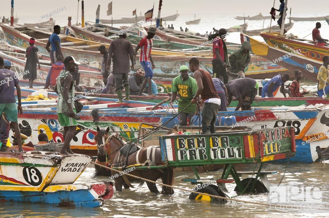 Stock Photo: fishing boats harbor senegal.
