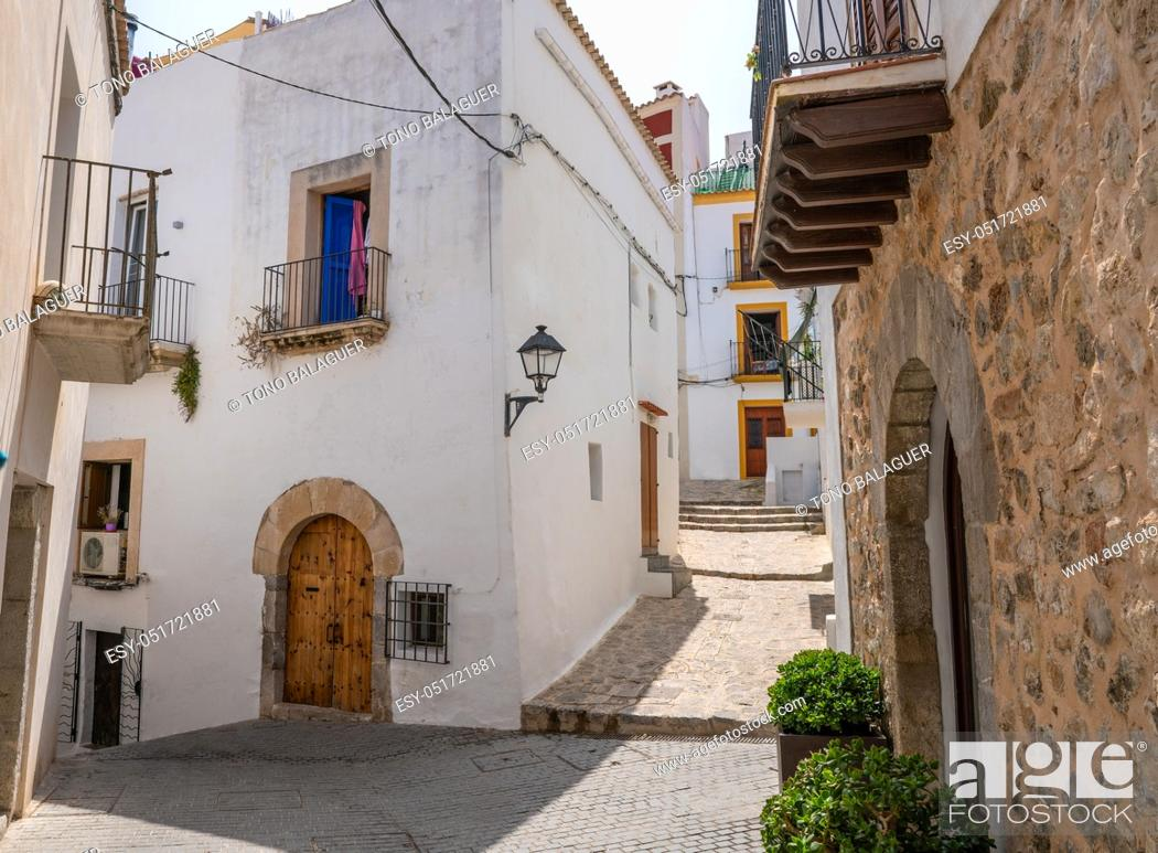 Stock Photo: Ibiza Eivissa downtown Dalt Vila facades in Balearic Islands.