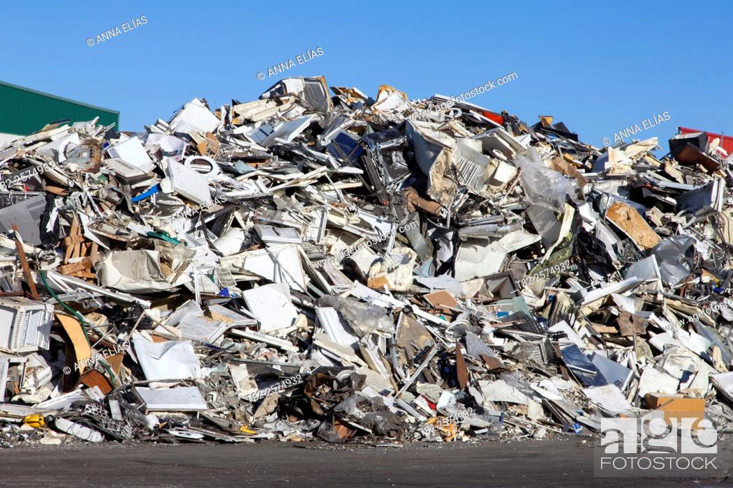 Stock Photo: Mountain metallic material and recycling computer waste.