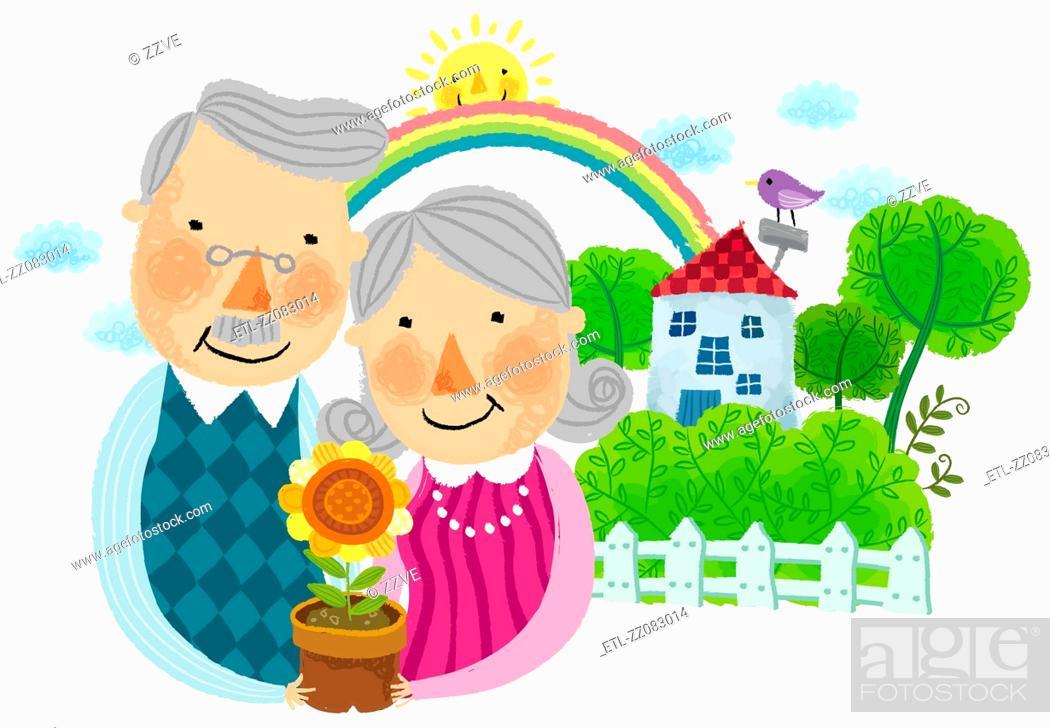 Stock Photo: portrait of elderly couple holding flower pot.