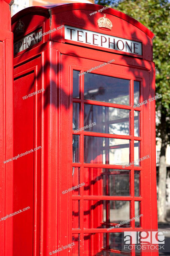 Stock Photo: Red telephone box, London.