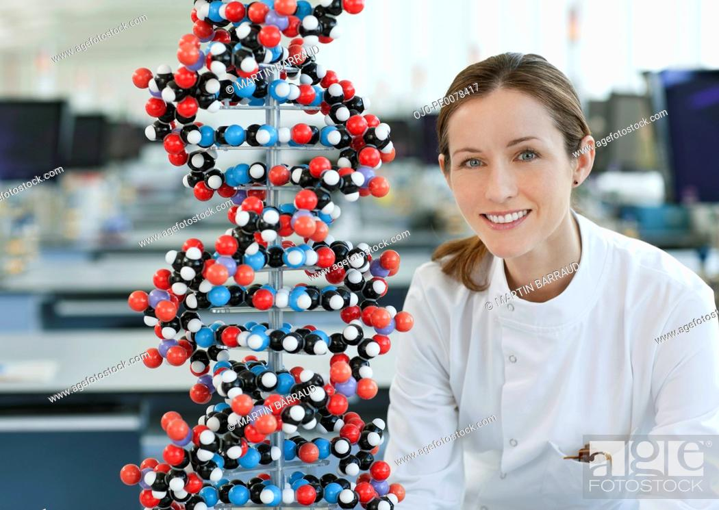 Stock Photo: Scientist with molecular model in lab.