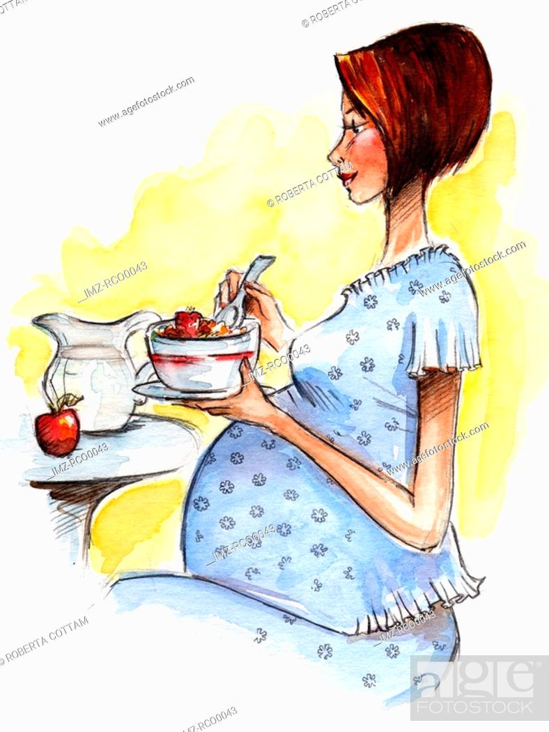 Stock Photo: A pregnant woman eating cereal.