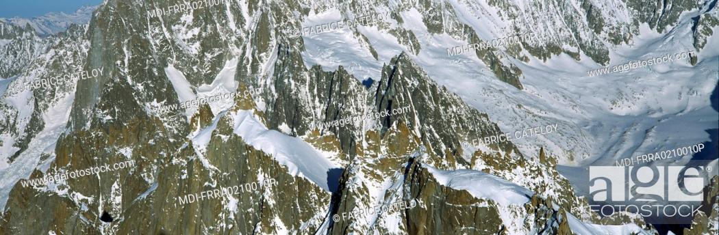 Stock Photo: View of the Mont-Blanc massif from the Aiguille du Midi in winter.