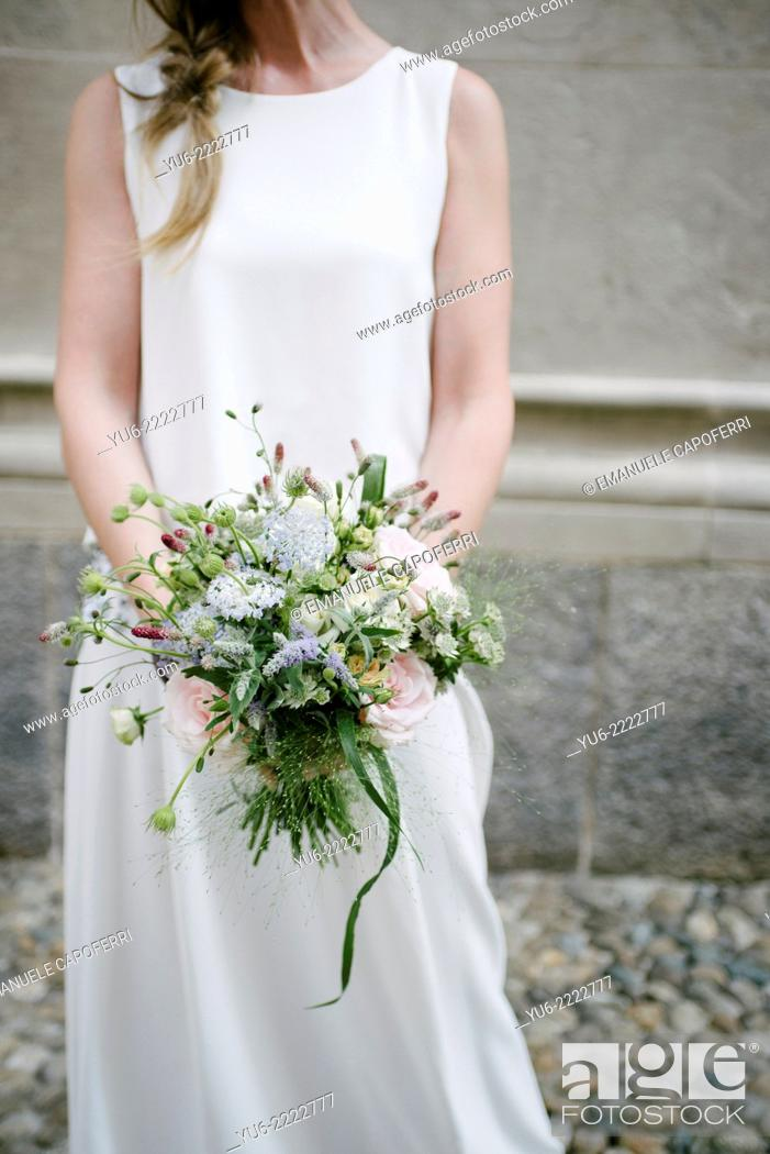 Stock Photo: Bride with bouquet.