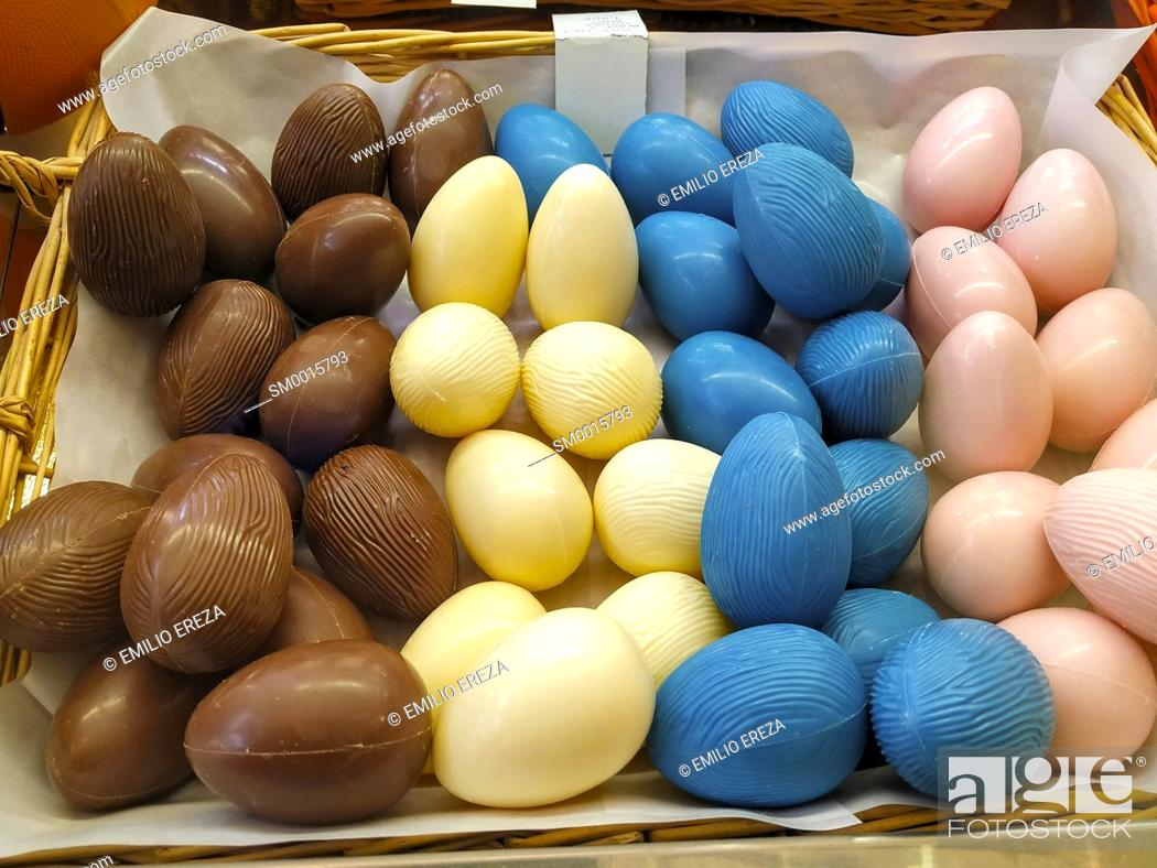 Stock Photo: Balls of chocolate for Easter. Catalonia, Spain.
