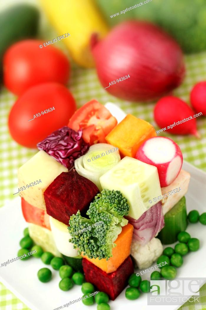 Stock Photo: Cube of vegetables.
