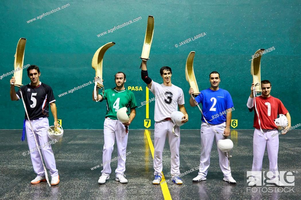 Stock Photo: Jai Alai, Zesta-Punta (Basket tip), Fronton Atano, Donostia, San Sebastian, Gipuzkoa, Basque Country, Spain, Europe.