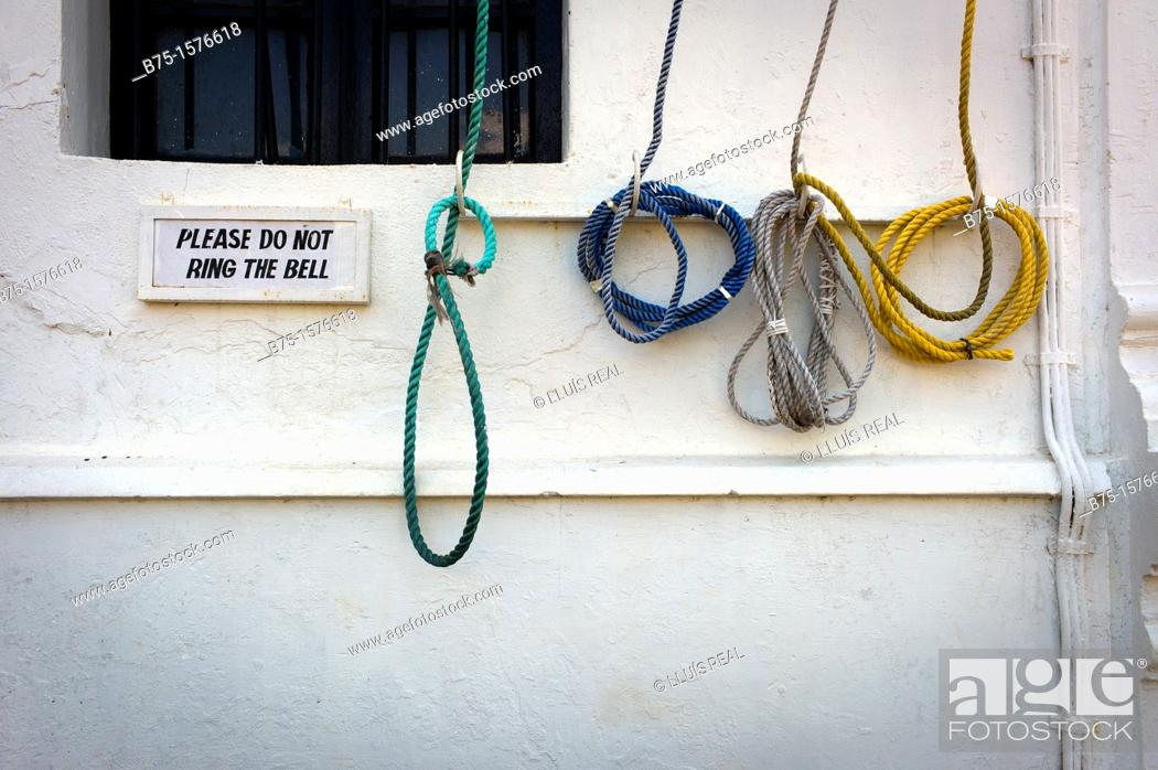 Stock Photo: Strings, 'please dont ring the bell', India, Goa, Asia.