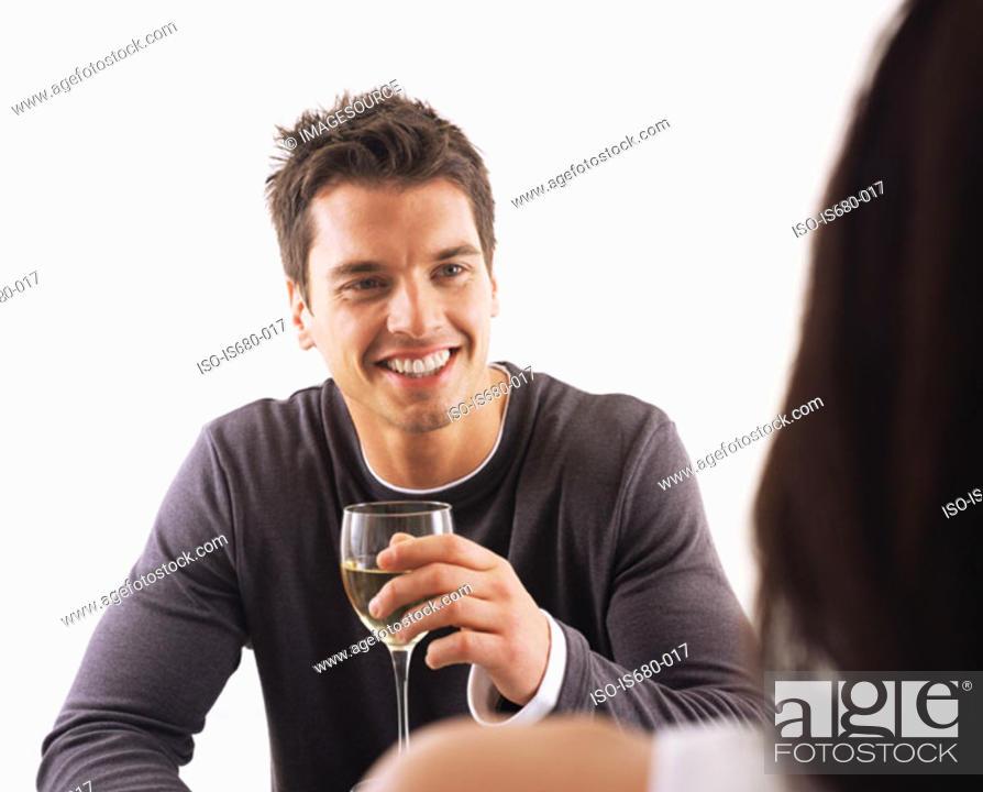 Stock Photo: Man and woman having wine.