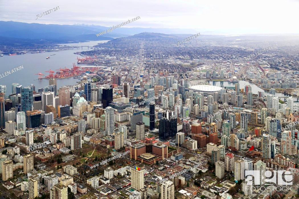 Stock Photo: Aerial view of buildings and businesses along Davie Street; Vancouver, British Columbia, Canada.