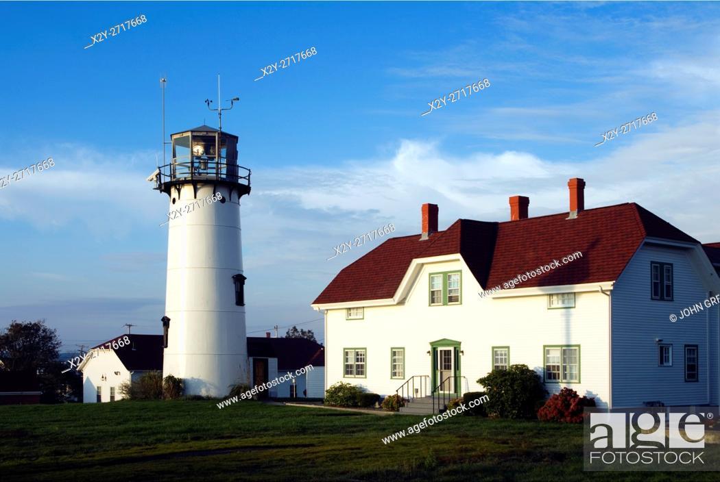 Stock Photo: Chatham Light and Coast Guard station, Chatham, Cape Cod, Massachusetts, USA.