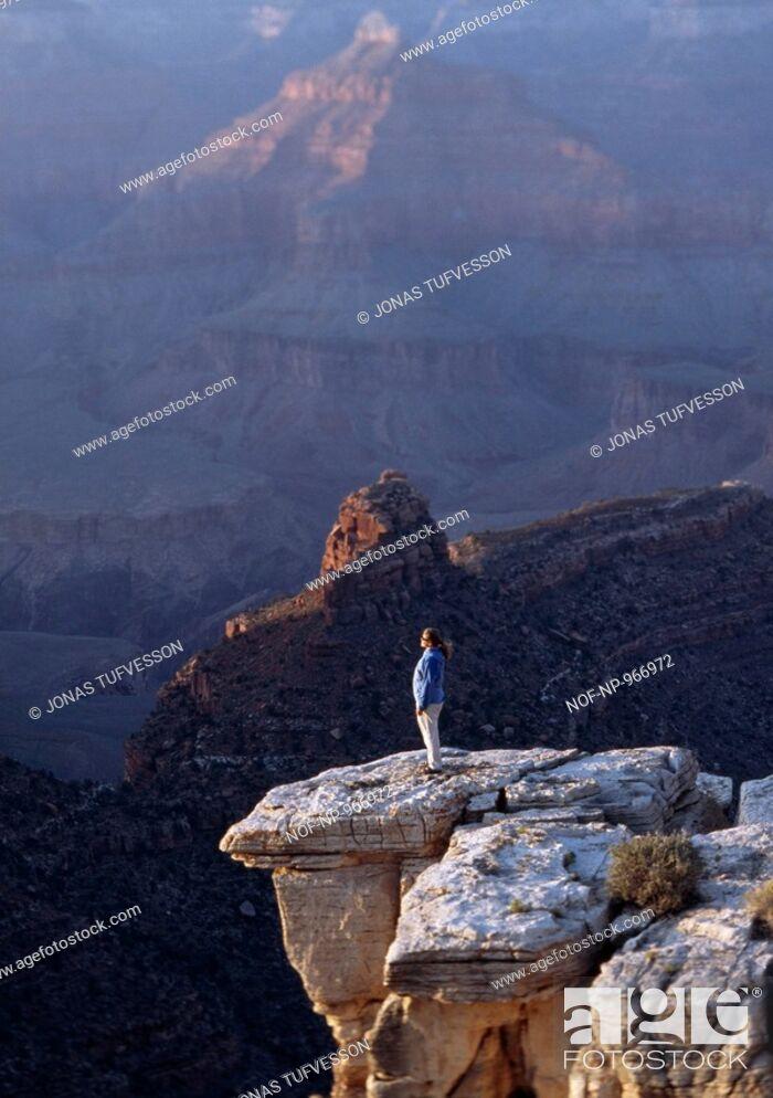 Stock Photo: A woman by the Grand Canyon, Arizona, USA.