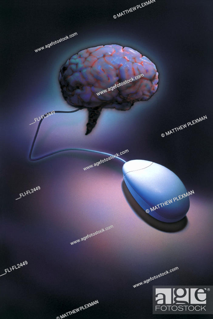 Stock Photo: Brain attached to computer mouse.