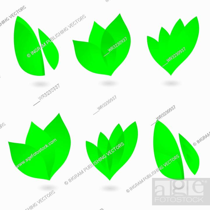 Vecteur de stock: collection of six environmental leaf designs with shadow.