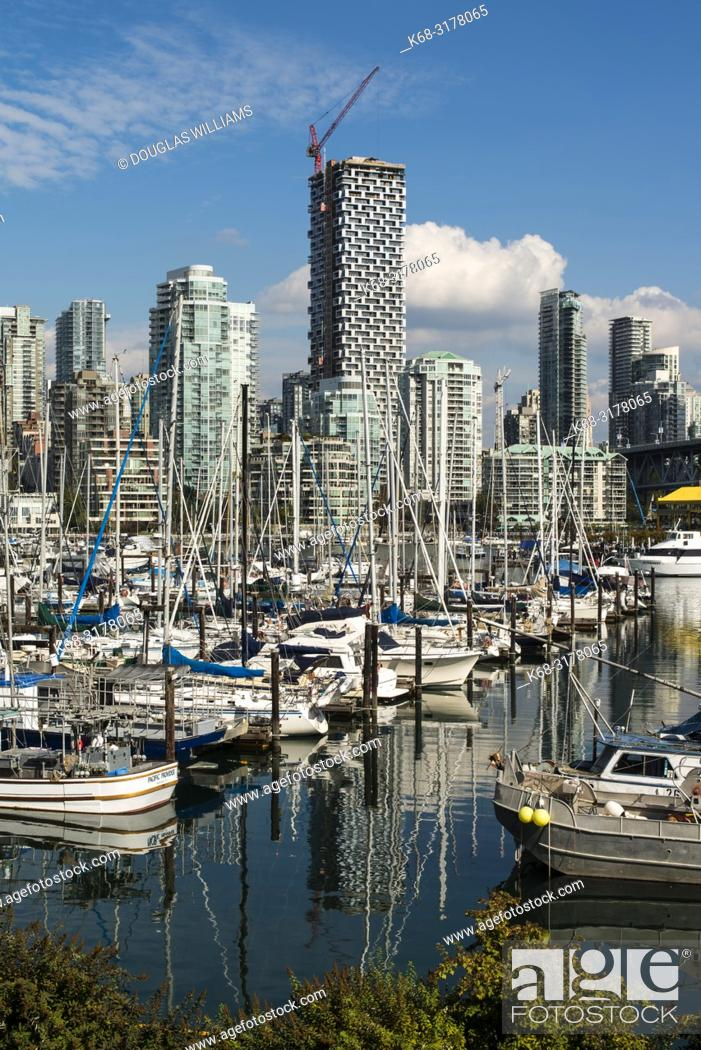 Stock Photo: False Creek, dominated by the tower Vancouver House, Vancouver, BC, Canada.