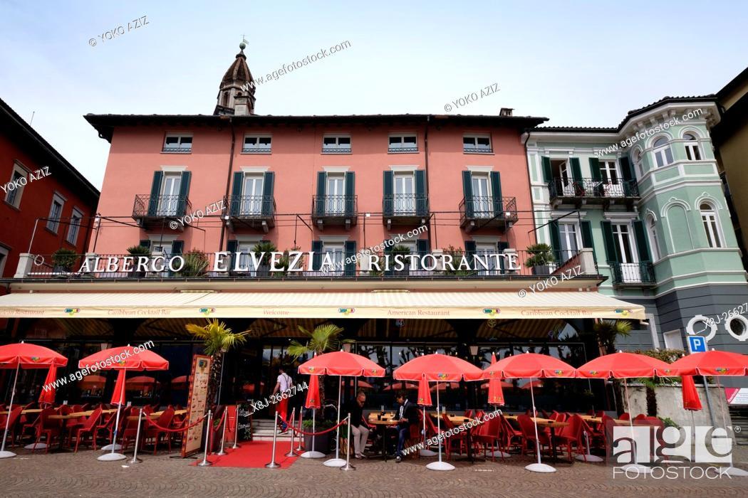 Stock Photo: Switzerland, Canton Ticino, Ascona, Albergo Elvezia ristorante.