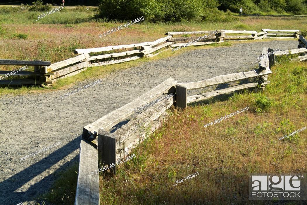 Stock Photo: Split rail fence and path.