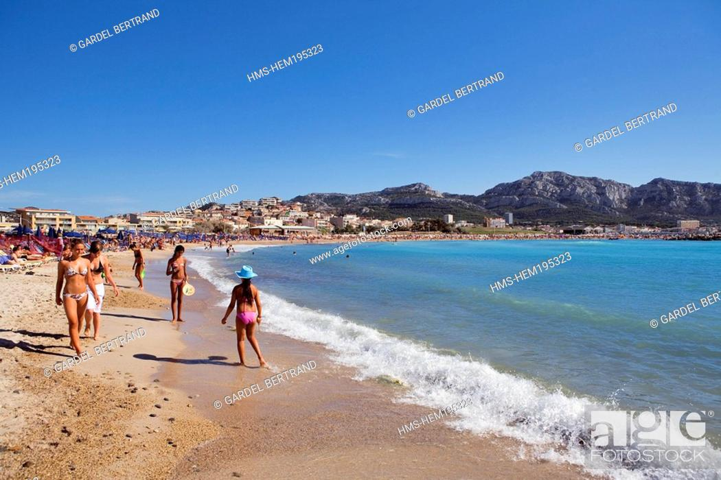 France Bouches Du Rhone Marseille The Prado Beach Stock Photo