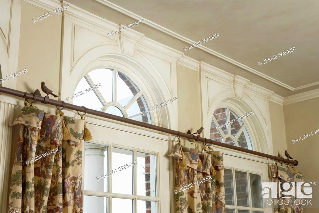 Stock Photo Window Treatments Palladian Windows Above Past Printed Curtains Small Birds Are