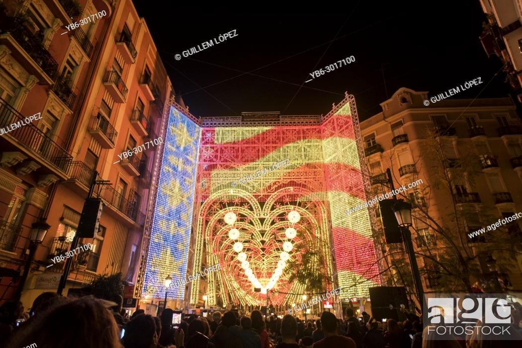 Stock Photo: Light and sound show in the streets of Ruzafa in Valencia as pasrt of the Fallas festivity, Spain.