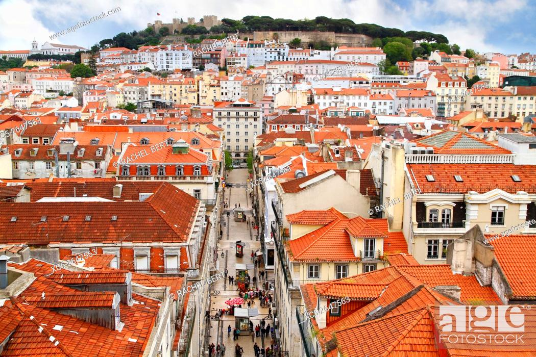 Stock Photo: View from Elevador de Santa Justa, View over baixa district with Sao Jorge castle in background.Lisbon. Portugal.