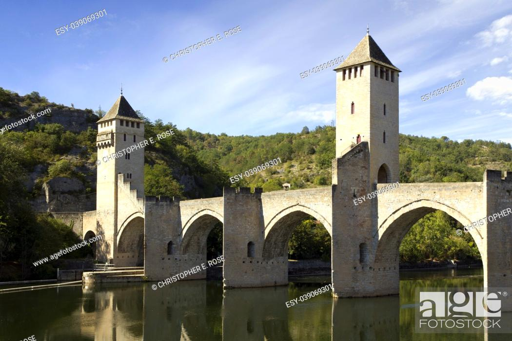 Stock Photo: Europe, France, Midi Pyrenees, Lot, Cahors, the historic Pont Valentre fortified bridge across the River Lot.