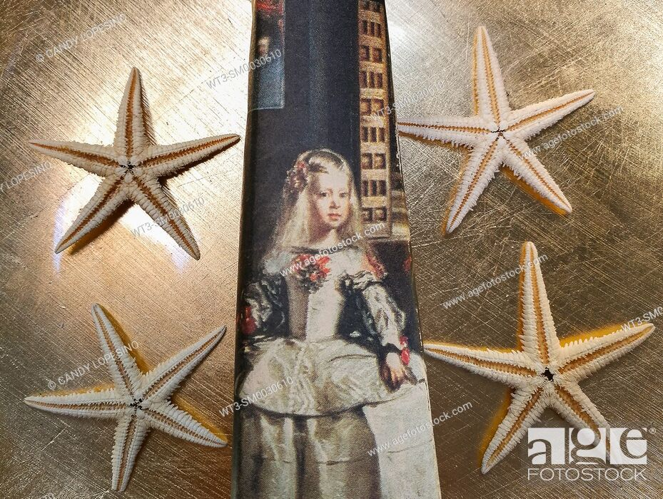Stock Photo: Children in Art, Infanta Margarita from the painting Las Meninas of Velazquez on golden background and four starfish.