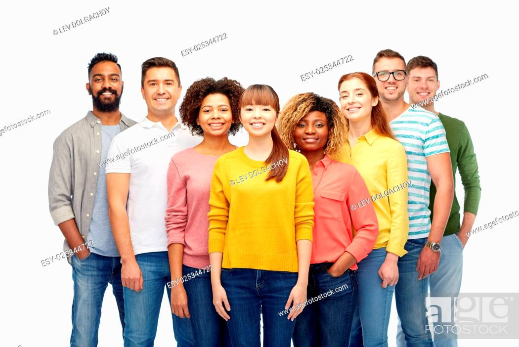 Stock Photo: diversity, race, ethnicity and people concept - international group of happy smiling men and women over white.