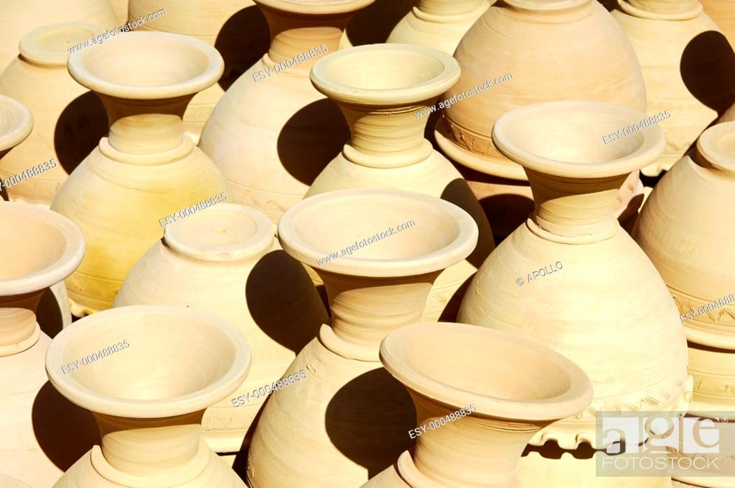 Stock Photo: Unfinsihed ceramic vases ready for firing, Bahla, Sultanate of Oman.