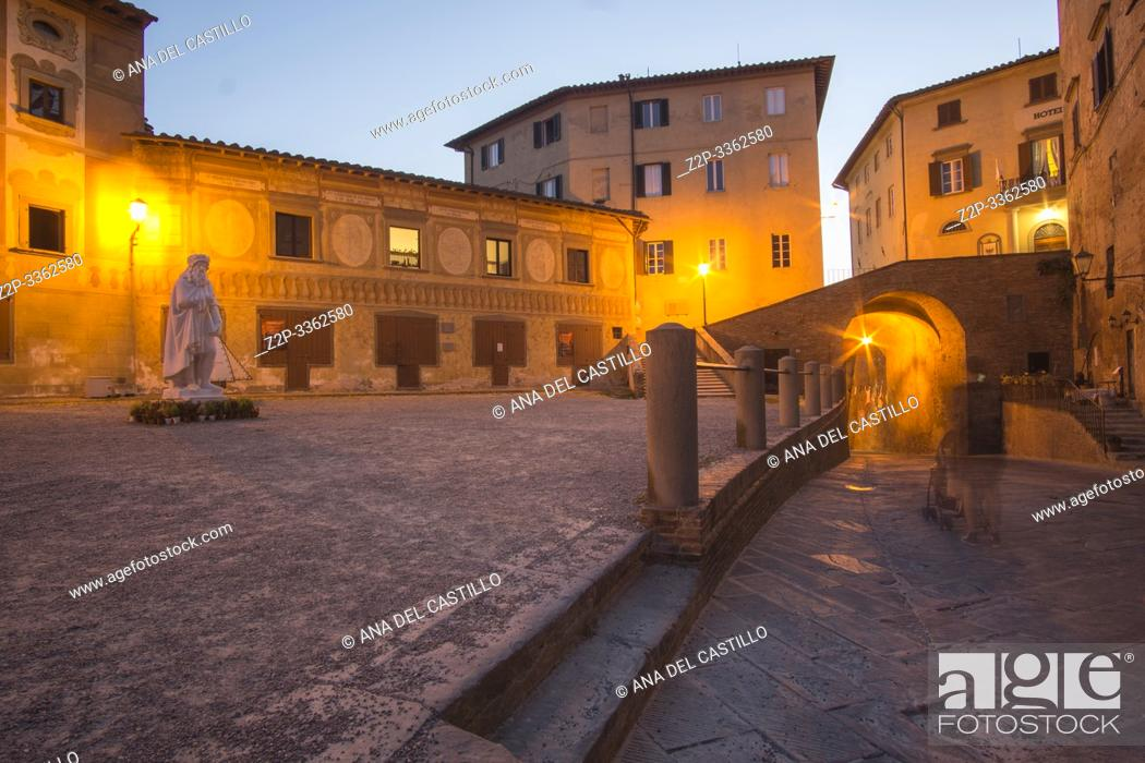 Stock Photo: San Miniato is a medieval town in the province of Pisa, located halfway between Pisa and Florence on July 5, 2019 in Italy. Seminary square by dusk.