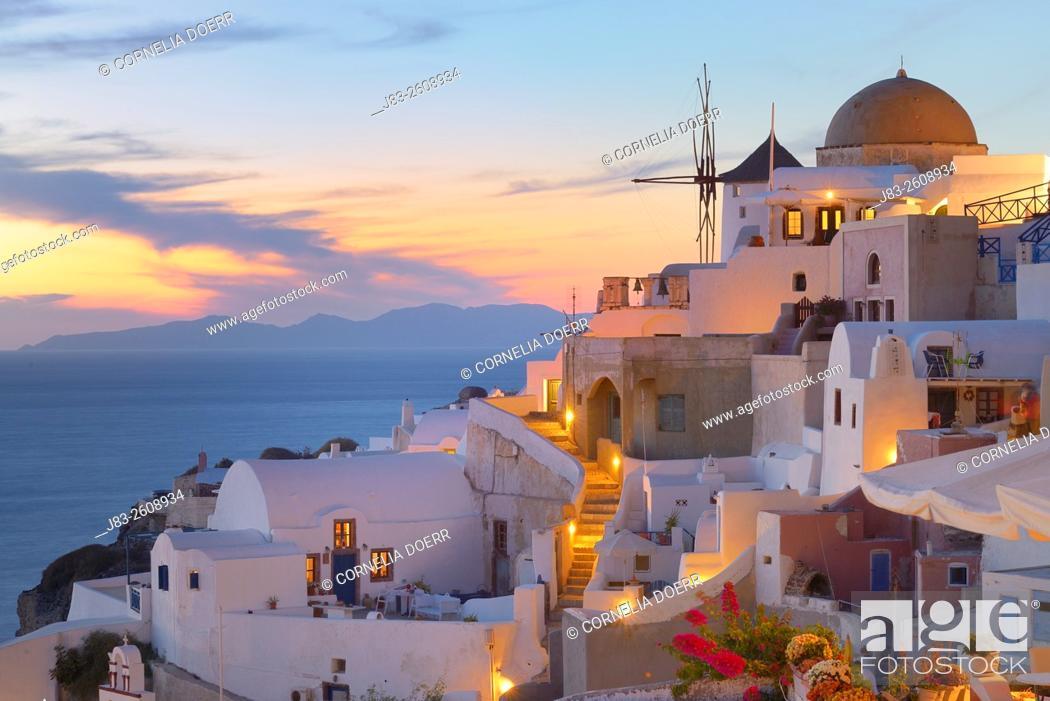 Stock Photo: View of Oia, Santorini, Oia Village, Santorini, Aegean Island, Cyclades Islands, Greek Islands, Greece, Europe.