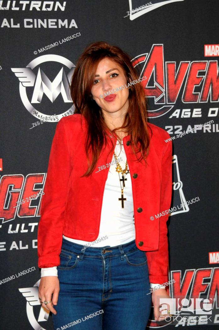 Stock Photo: thony; modern cinema; songwriter ; celebrities; 2015;rome; italy;event; red carpet ; avengers, age of ultron.