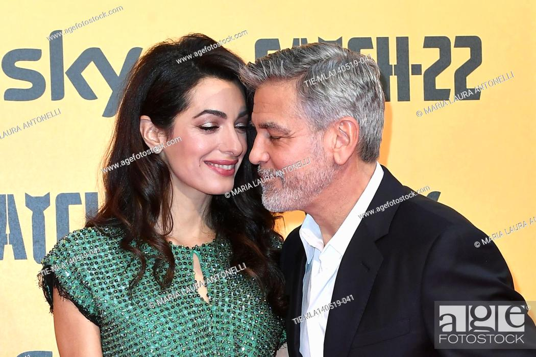 Photo de stock: George Clooney with wife Amal Alamuddin during the Red carpet for the Premiere of film tv Catch-22, Rome, ITALY-13-05-2019.