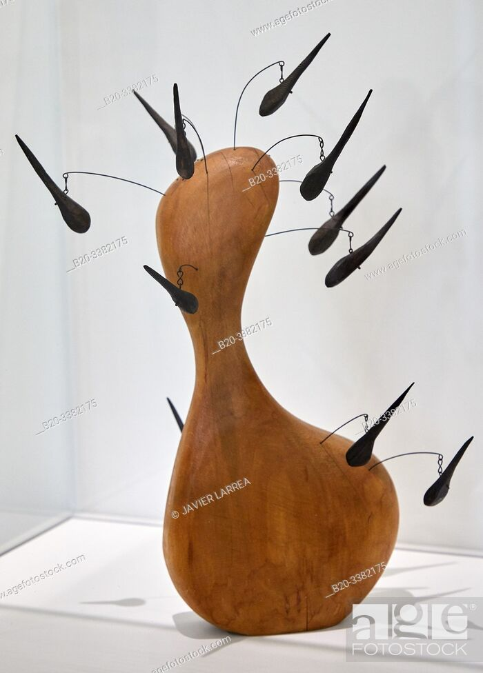 """Stock Photo: """"Wooden Bottle with Hairs"""", 1943, Alexander Calder, Picasso Museum, Paris, France, Europe."""