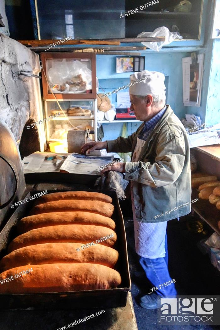 Stock Photo: Vatoussa Village Baker at work, Mytilini, Greece.